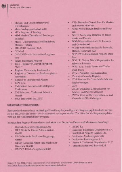 Warnhinweis DPMA Seite 2