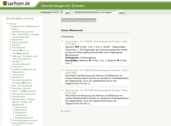 Entscheidungssammlung des OLG Dresden