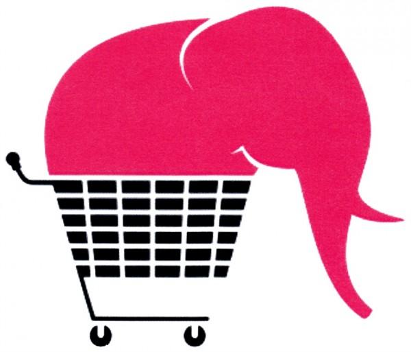 Rosa Elefant im Einkaufswagen