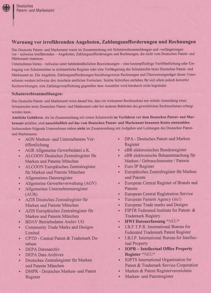 Warnhinweis DPMA Seite 1