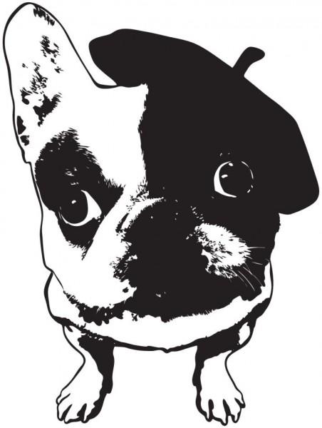 Hund mit Baskenmütze